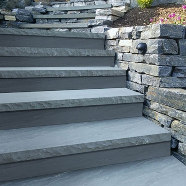 Natural stone treads in Castle Grey